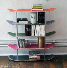 Great idea for big kids room: Skateboard shelves via Keep .
