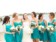 teal bridesmaids dresses | featured wedding @Wequassett Resort and Golf Club @Blooms of Hope  http://blisscelebrationsguide.com/