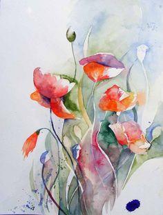 Poppies in the Summer Garden watercolor