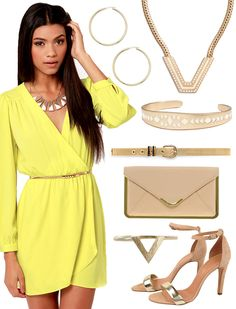 Yellow Long Sleeved Wrap Dress w/ Gold accessories