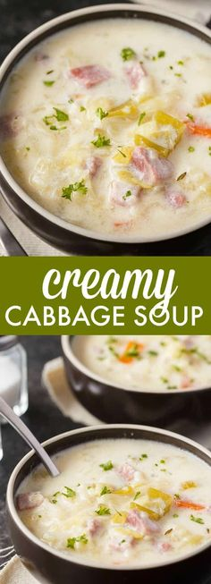 Creamy Cabbage Soup - Simply Stacie Hearty and comforting! This delicious and easy soup recipe is loaded with tender cabbage, carrots, celery, ham and spices. Cabbage Soup Recipes, Easy Soup Recipes, Beef Recipes, Cooking Recipes, Dinner Recipes, Creamy Cabbage Soup Recipe, Crockpot Cabbage Soup, Ham And Cabbage Soup, Recipies