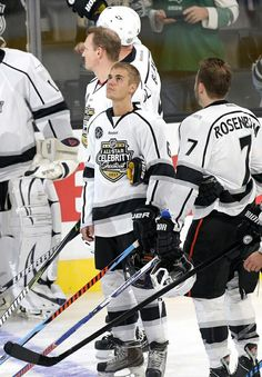 Justin Bieber at the NHL celebrity shoot-out in California