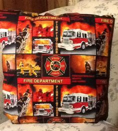 Fire Department Fire Fighters throw pillow. by MawmaRosesCrafts, $15.00
