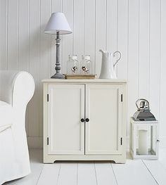 Hampton small cream cupboard for living room. Large selection of New England furniture from The White Lighthouse