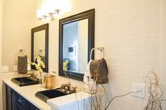 Master Bath vanity with black accents