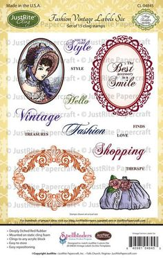 Fashion Vintage Labels Six Cling Stamps. JustRite Papercraft November 2013 Release  $22.95, #justrite, #clingstamps, #amytedder