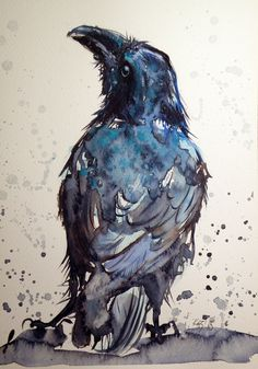 ARTFINDER: Crow by Kovács Anna Brigitta - Original watercolour painting on high quality watercolour paper. I love landscapes, still life, nature and wildlife, lights and shadows, colorful sight. Crow Art, Raven Art, Blue Raven, Art Aquarelle, Watercolor Art, Animal Watercolour, Watercolour Tattoos, Watercolor Beginner, The Crow