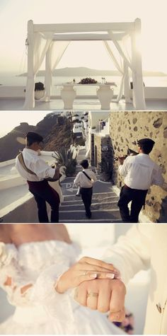 Bagpipers down the streets of Santorini
