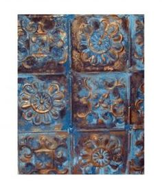 Antique Tin Ceiling Panel Wall Hanging *i think I can duplicate this finish on faux tin