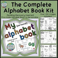 Complete Printable #AlphabetBook Kit with Dotted Arrow Font and over 200 images! Based on #ReadingRecovery practice of gradually building up a Personalized Alphabet Book unique to each child $