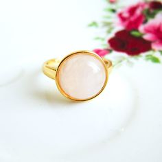 Rose Quartz Ring Pink Gem Stone Ring Gold Gemstone Precious Stone Jewelry Simple Classic Light Pink Soft Dreamy Bright Pale Blush Pink