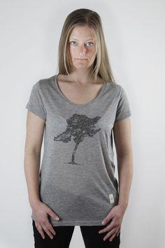 """Grey Melange """"Tree"""" Print Top"""