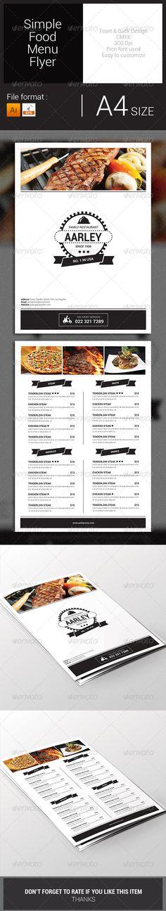 Simple Food Menu Flyer Template #design #speisekarte Download: http://graphicriver.net/item/simple-food-menu-flyer-/7828768?ref=ksioks