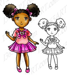 Cute Girl With Afro Puffs Chibi, Digital Stamp and Coloring Page by I365Art on Etsy