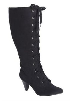 Wide Width Sophie wide-calf lace-up boots by #WideCalfBoots #boots