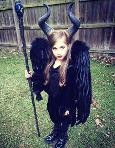 purchased horns, vampire dress, wings, and staff separately on amazon. Makeup tutorial from pin. #maleficent #disney #childrenscostume