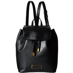Marc by Marc Jacobs Ligero Backpack ($398) ❤ liked on Polyvore featuring bags, backpacks, black, leather strap backpack, leather backpack, black leather backpack, strap backpack and black rucksack
