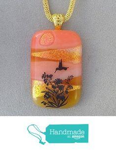 Hummingbird Fused Dichroic Glass Pendant Necklace Gold Tone Bail A2895 from Lolas Glass Pendants http://www.amazon.com/dp/B015GGZUCA/ref=hnd_sw_r_pi_dp_B0lpwb1N7AKAJ #handmadeatamazon
