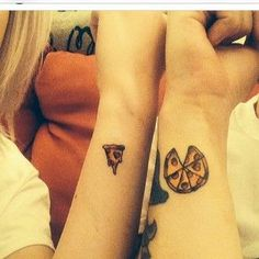 This perfectly sliced pair: | 17 Super Cute Couple Tattoos Guaranteed To Put A Smile On Your Face: