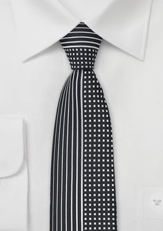 Multi Patterned Black and Silver Tie