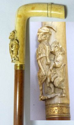 Antique walnut cane / walking stick with a impressive carved ivory handle depicting a fairy tail figure of a armed fox with a sword holding hands with a rabbit in high relief. There is also a ivory tip on the cane. Walking Sticks And Canes, Walking Canes, Shooting Sticks, Cane Sword, Folding Cane, Walking Staff, Riding Crop, Cane Handles, Cane Stick