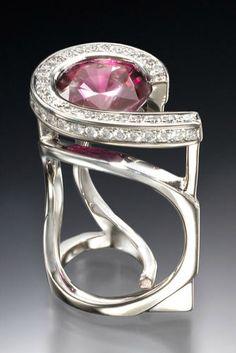 Ring | Michael Alexander.  Palladium, pink sapphire and diamonds.