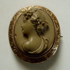Antique High-Relief Lava Cameo of Bacchus in 9K Gold Ivy Leaf Mount