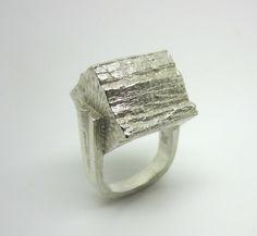 Modernist Brutalist Anton Michelsen Knud V. Andersen Sterling Silver Bark Ring Denmark 1970s (Sold)