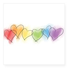 """hearts-watercolor-row_tr.png Square Sticker 3"""" x 3"""