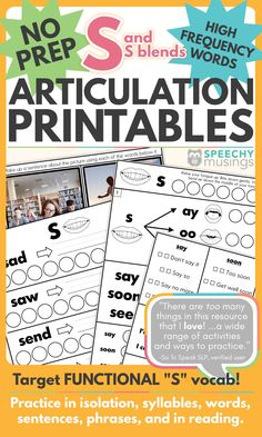 "Would you like to target functional, high frequency words in your articulation therapy? This resource will help you target words your students actually use like ""yes"" and ""so"".  This articulation speech therapy activity includes printables to target S in isolation, syllables, words, phrases, sentences, and in reading! In addition, there are S blend targets included! The worksheets work incredibly well for short, drill-based articulation sessions as well."