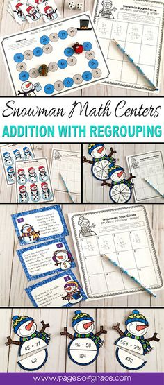 Help your students master addition with regrouping with the fun set of 5 snowman math centers! These activities are hands on and interactive. Dice, board game, spinners, word problems, task cards. Have some winter fun while learning & refining math skills! Great for advanced 1st grade, 2nd grade, & 3rd graders needing extra practice. 4 of the centers are differentiated to allow for easy differentiation. Click on the picture to see a full description & to purchase all 5 centers.