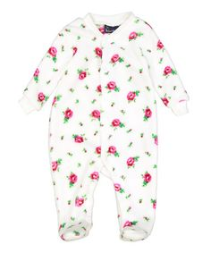 Look at this #zulilyfind! White Floral Fleece Footie - Infant #zulilyfinds