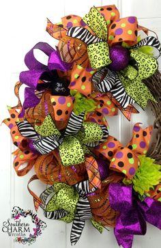 halloween+decomesh+wreaths | Deco Mesh HALLOWEEN Ribbon Wreath Orange Lime Purple Black Door Wreath