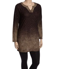 Love this Highness NYC Coffee & Khaki Abstract Notch Neck Tunic - Plus by Highness NYC on #zulily! #zulilyfinds
