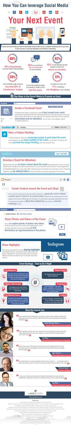 How to leverage social media for event marketing. • Social media marketing budgets are projected to double over the next five years. • Yet—less than half of businesses use social media for event marketing, and just 11% use blogging to market events. • A Facebook event listing can serve as an information hub for attendees. Companies can use this to promote the event, post updates, and respond to inquiries. More... #socialmedia #events #marketing: