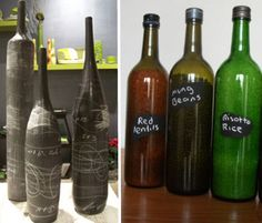 The chalk paint bottles are a great idea. So are the dried goods storage containers (so long as you have a twist top bottle).