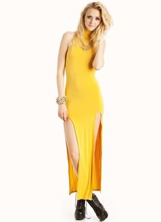 turtleneck slit maxi dress