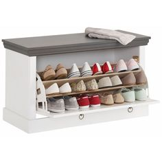 """Bench-chest solid pine shoe rack Home Case """"Basilico"""" - bench Wall Desk, Home Reno, Shoe Storage, Solid Pine, Shoe Rack, Sweet Home, Bench, Room, House"""