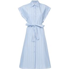 Rosetta Getty striped shirt dress (12.015 NOK) ❤ liked on Polyvore featuring dresses, blue, stripe shirt dress, stripe dresses, blue color dress, blue shirt dress and long shirt dress