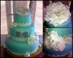 Blue wedding cakes lace wedding cakes Rowell's Specialty Cakes