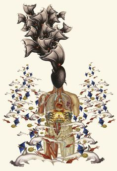 """""""in too deep"""" anatomical collage art by bedelgeuse / bedelgeuse / Anatomical"""