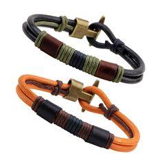 Multicolors Rope Leather Bracelet & Bangle Adjustable Leather Popular Bracelet Cuff Men`s Casual Jewelry Handmade Bangle