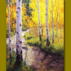 Large original Oil painting_ Birch Tree Aspen Landscape Commission Hand-painted by Award Winning Artist Gary Kim_ Custom Art Made to Order Watercolor Trees, Watercolor Landscape, Landscape Art, Landscape Paintings, Aspen Landscaping, Birch Tree Art, Aspen Trees, Oeuvre D'art, Beautiful Landscapes