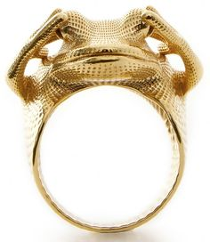 Gold plated brass 3D print of the 'Frog Ring' by Peter Donders. #3dprinting #3dprintedjewelry Clothing, Shoes & Jewelry: http://amzn.to/2iTBsa9