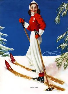 Winter fun pin-up. Vintage Ski, Vintage Winter, Vintage Posters, Vintage Girls, Vintage Prints, Ski Bunnies, Rolf Armstrong, Art Deco Print, Ski Posters