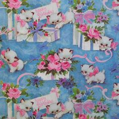 Vintage TIE TIE Birthday Gift Wrap Wrapping Paper -  KITTENS - 1960s. $4.95, via Etsy.