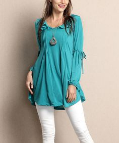 Look at this #zulilyfind! Turquoise Peasant Tunic - Plus by Reborn Collection #zulilyfinds