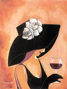 Lorraine Dell Wood Portfolio Catalog Painter Painting Illustration - Where Artist and Industry Meet Vintage Images, Vintage Posters, Art Du Vin, Wine Art, Lorraine, Female Art, Painting & Drawing, Fashion Art, Art Nouveau