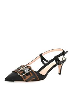 666ce72e7a73 Pearland Leather Slingback Pumps by Fendi at Neiman Marcus Slingback Pump