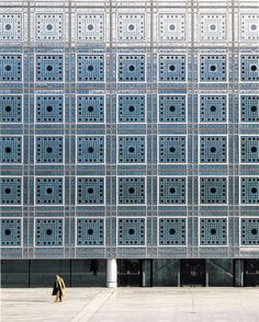 """autosafari: """" Jean Nouvel's Institut du Monde Arab (IMA), Paris, France (1981-1987). """"Executed in steel and glass, it presents a tapestry of over 240 grid squares, each incorporating 57 photosensitive..."""